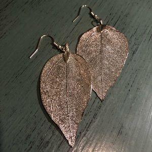 Elegant Sterling Silver Natural Leaf Earrings